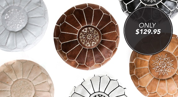 Image of the '100% Leather Moroccan Poufs' sale