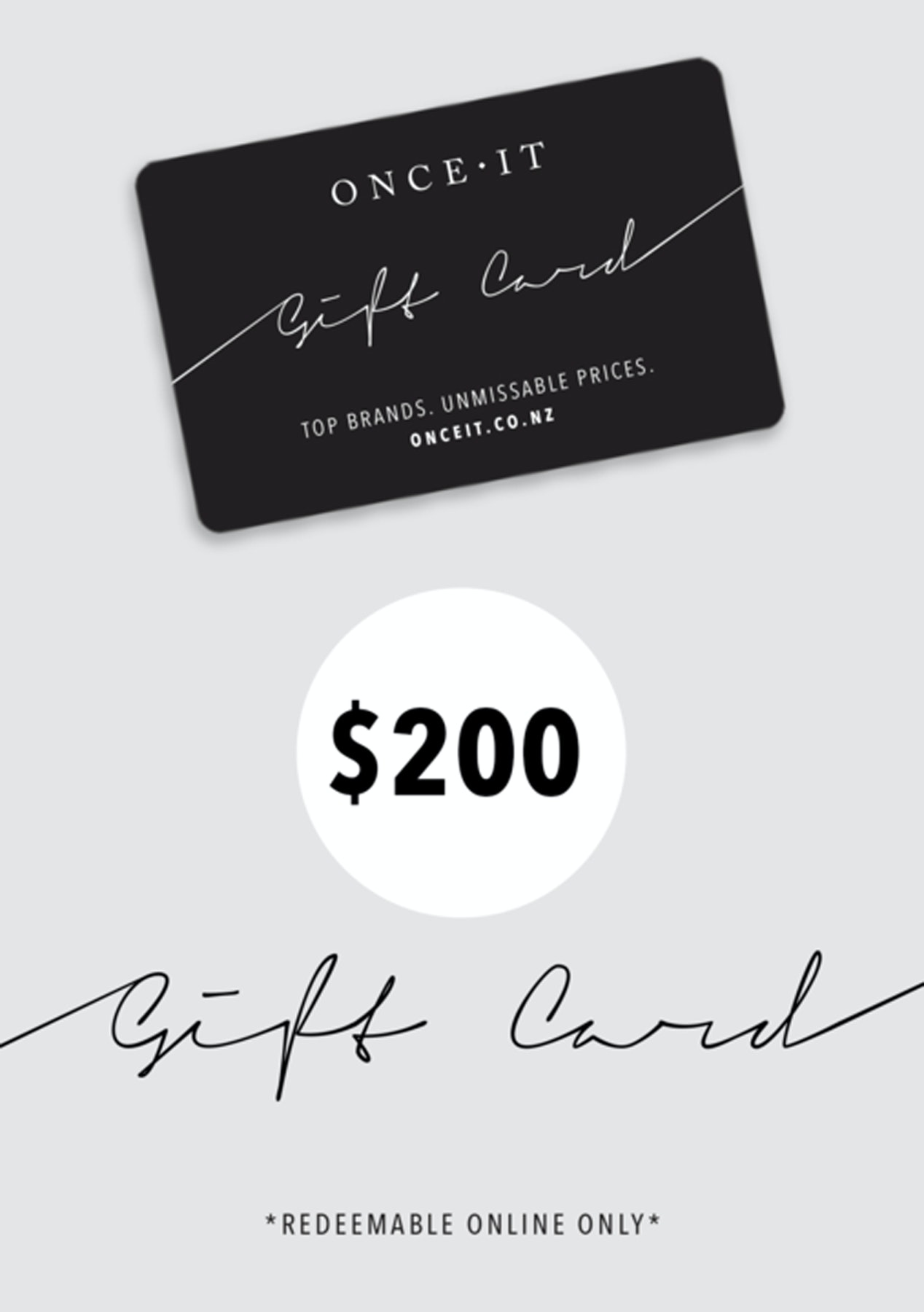 Onceit $200 Physical Gift Card