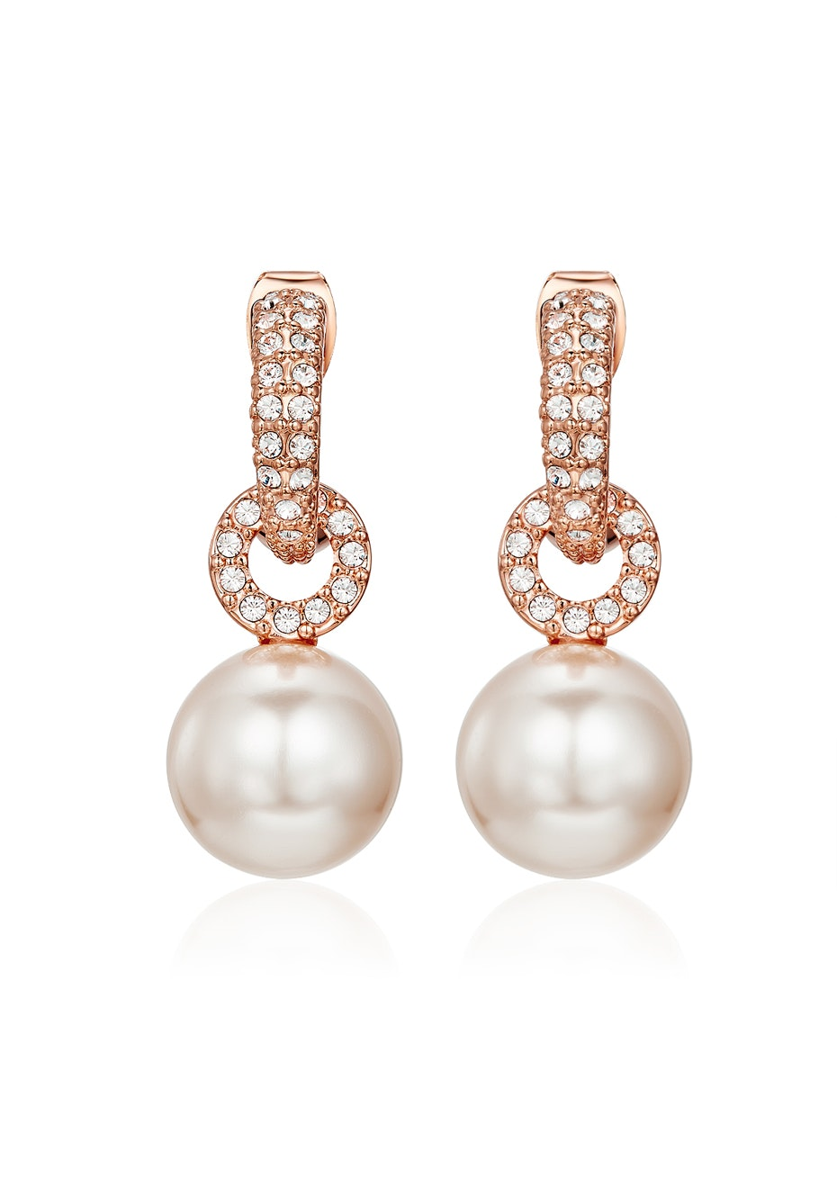Pearl Drop Earrings Embellished with Crystals from Swarovski -Rose Gold