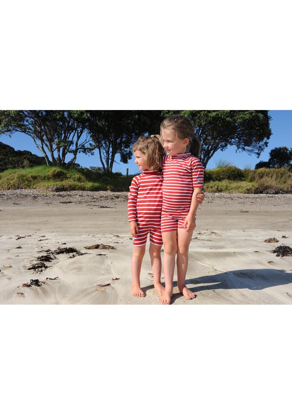 Little Red Fish - Fullsuit Long Sleeve Swimsuit - Red & White Stripe