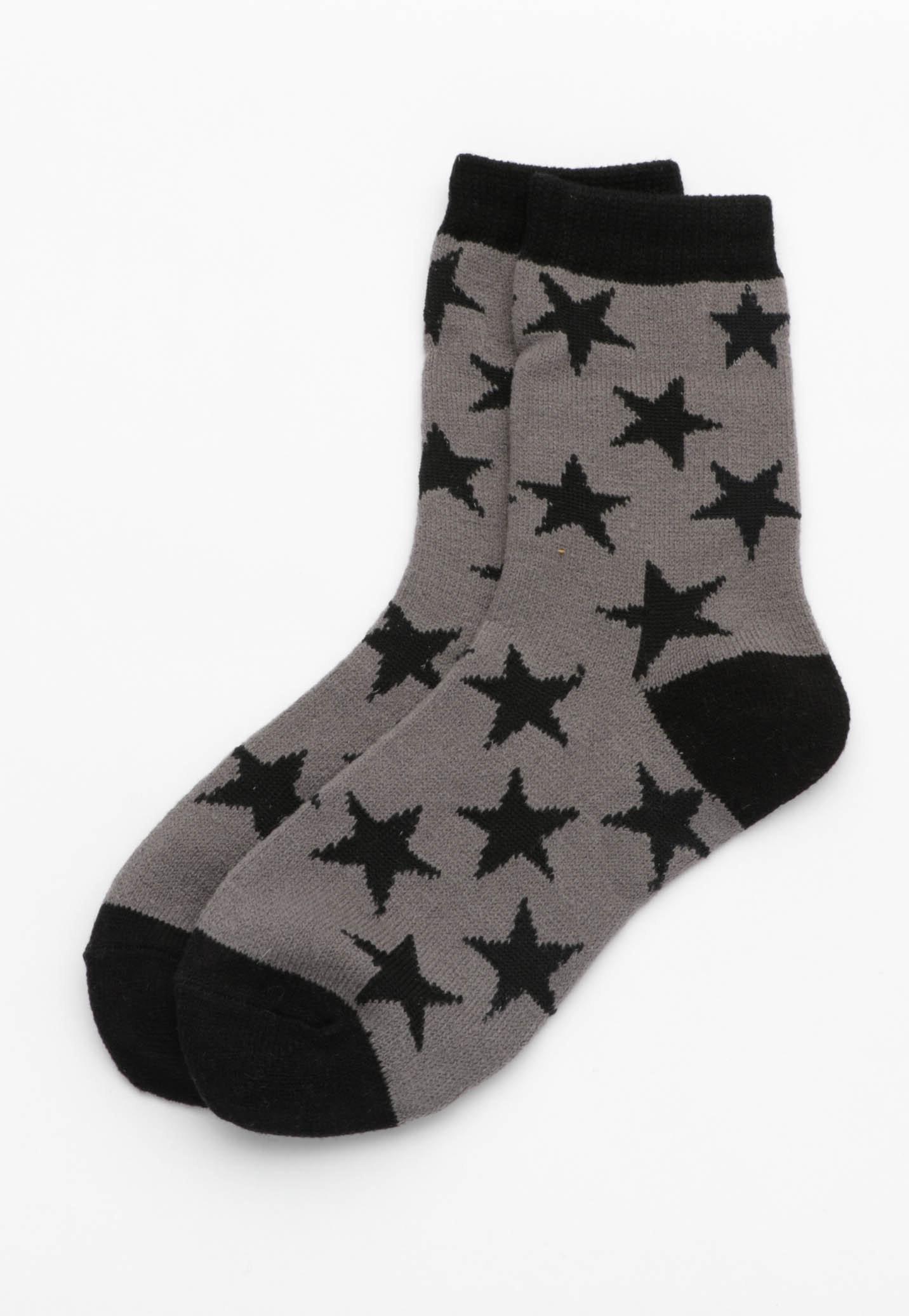 Star Socks - Dark Grey/ Black