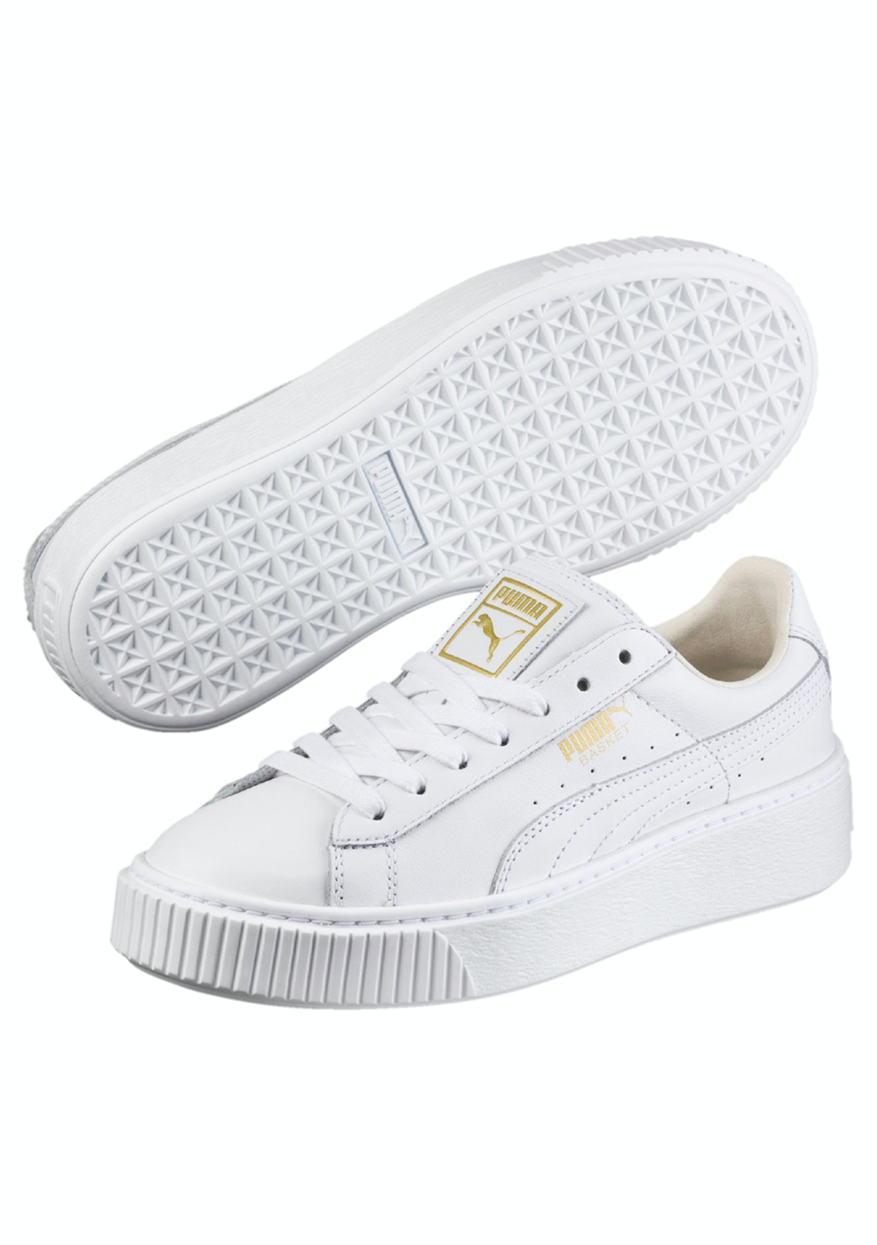 8cc0b604bd1884 Puma Womens - Basket Platform Core White - Gold - Under  100 PUMA Mega Sale  - Onceit