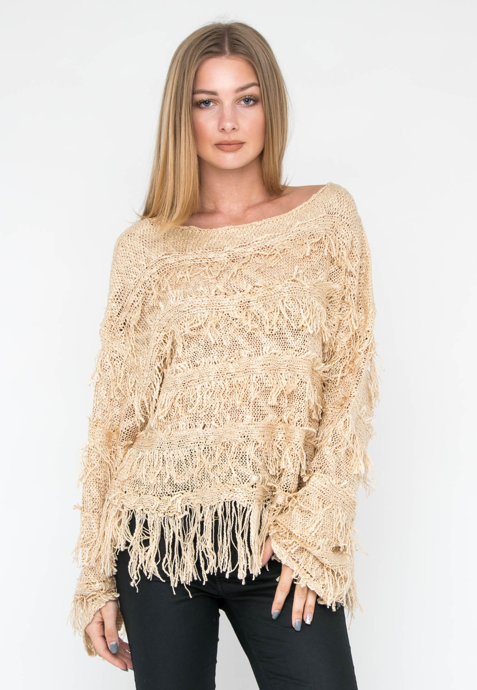 Fringe Tiered Sweater - Tan