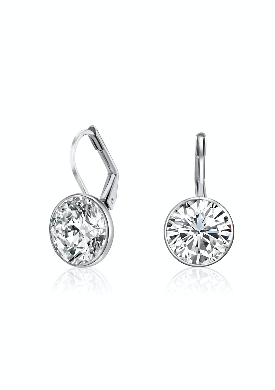 Drop Earrings White gold plated Embellished with Crystals from Swarovski