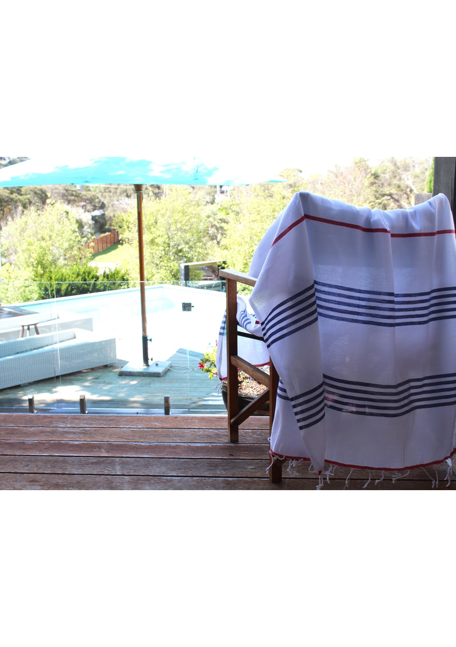 Sail Navy Red Turkish Towel