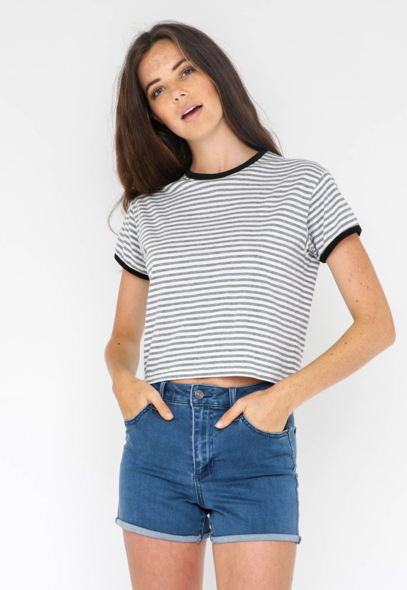 Silent Theory - Dead Ringer Stripe Tee - Grey and white stripe