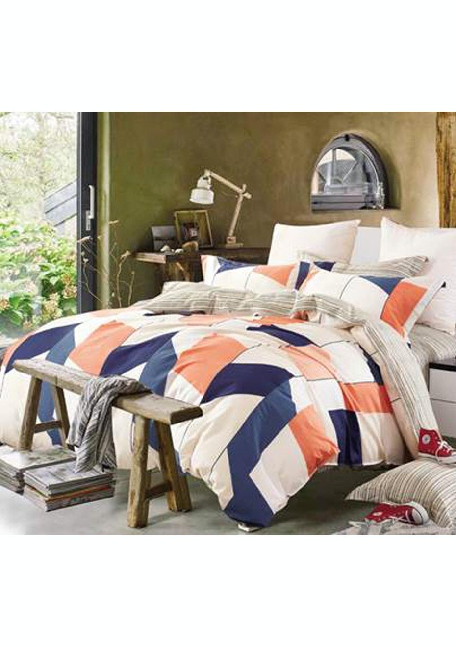 Isla Quilt Cover Set - Reversible Design - 100% Cotton -  Double Bed