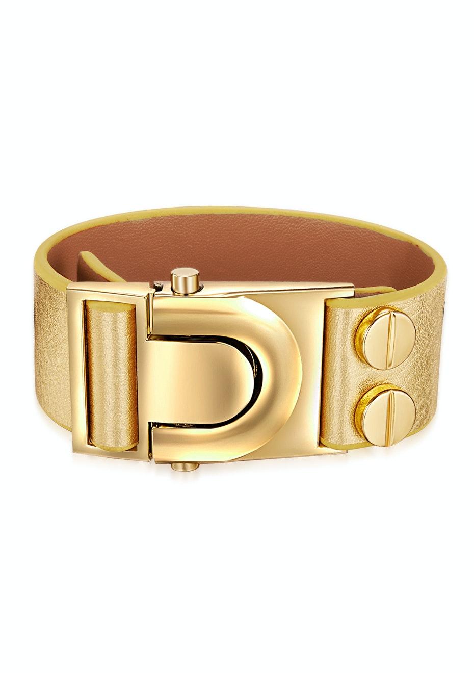 Genuine Cow Leather Clasp Bracelet - GLD