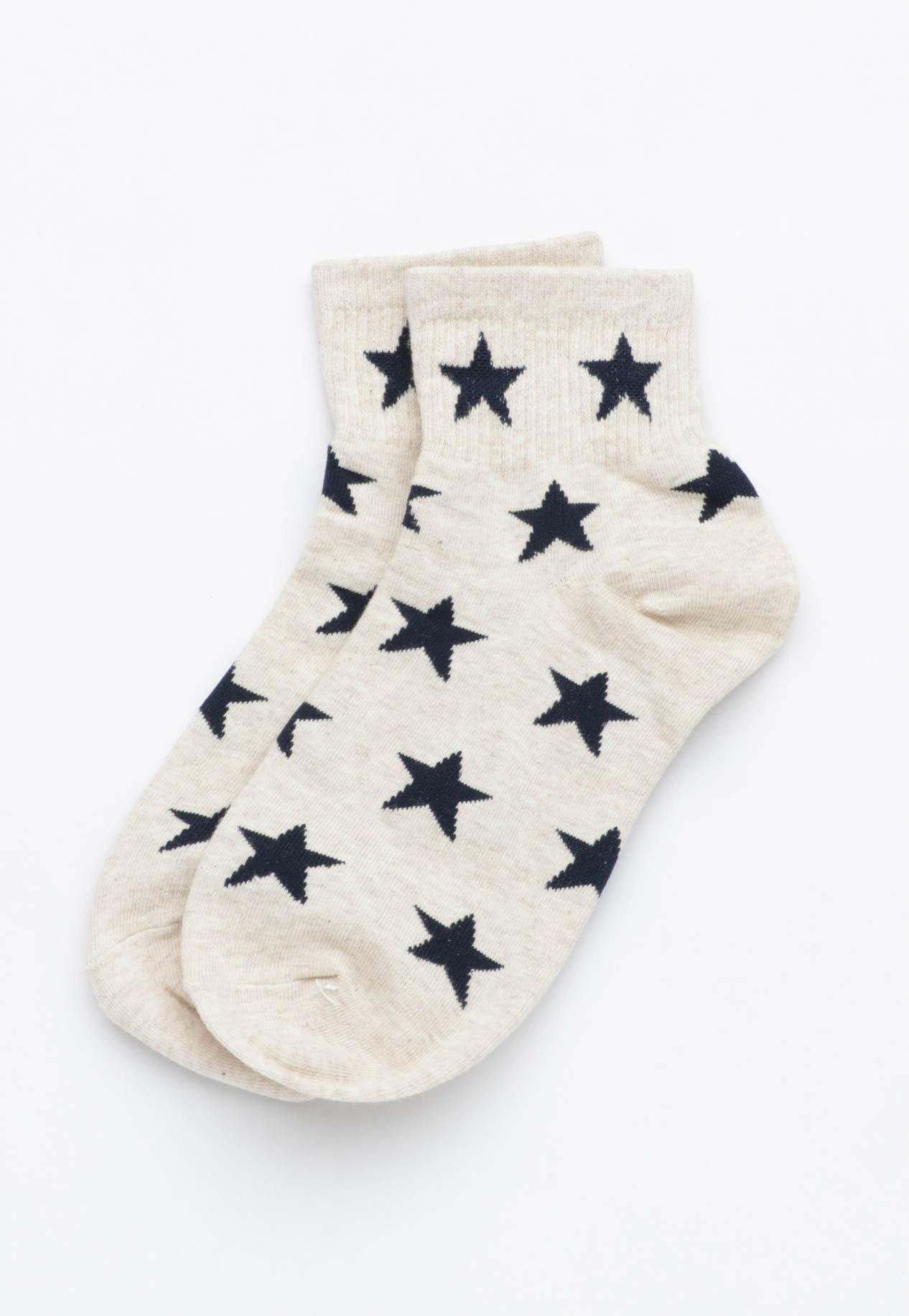 Star Socks - Oatmeal/Navy
