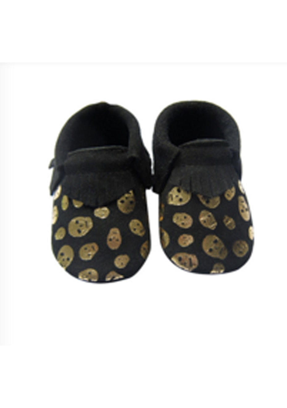 Baby  Leather Shoes - Black/Skull
