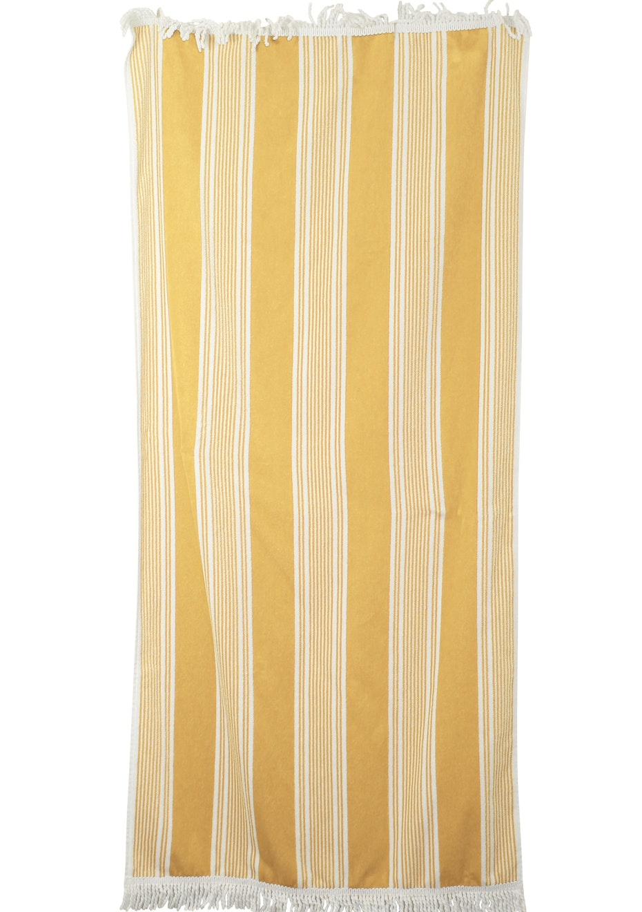 100% Cotton Velour Dobby Beach Towels with Fringe - 80x160cm - 440GSM - Canary