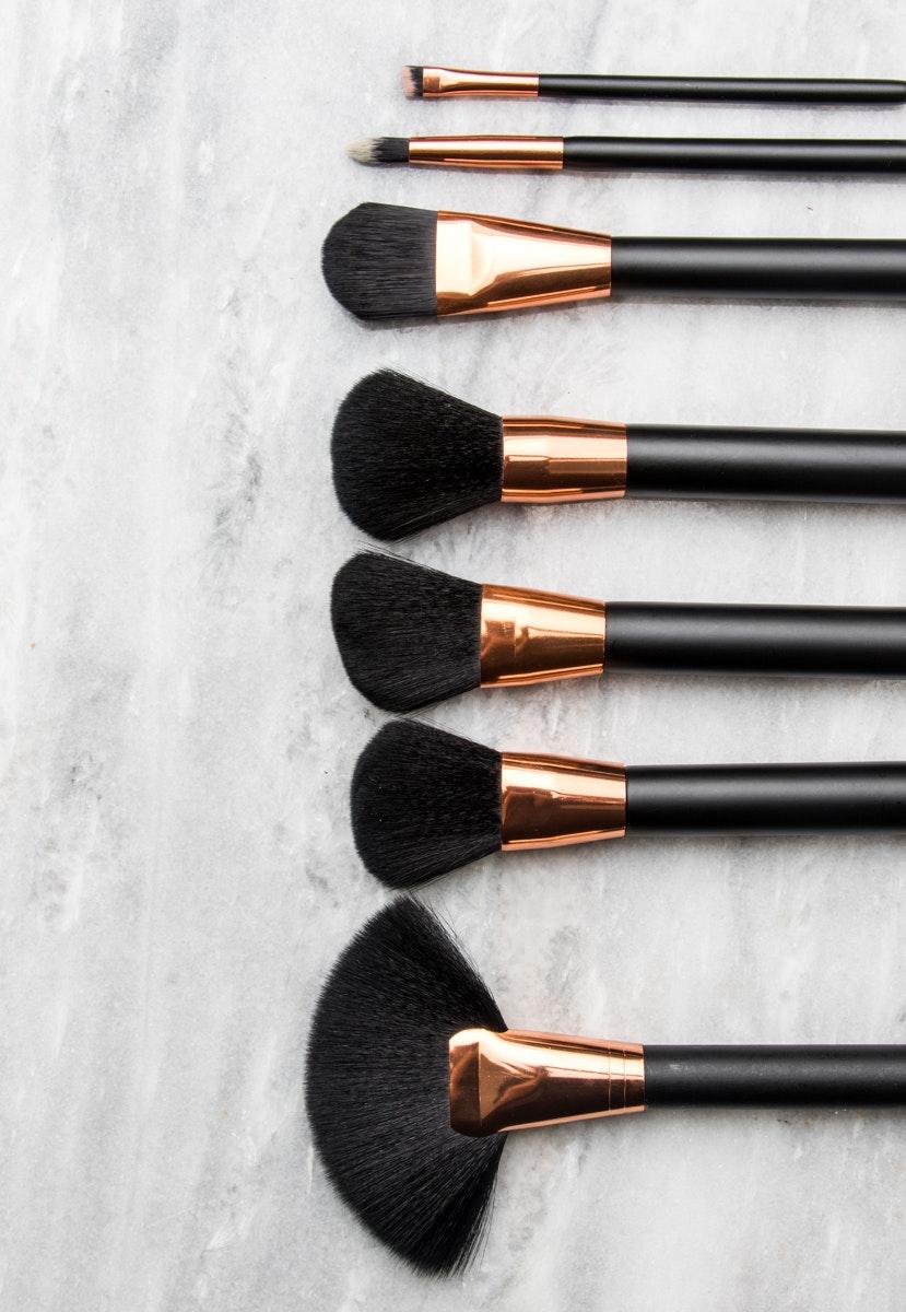 Rose Gold - Matte Black 7pc Brush Set with Case