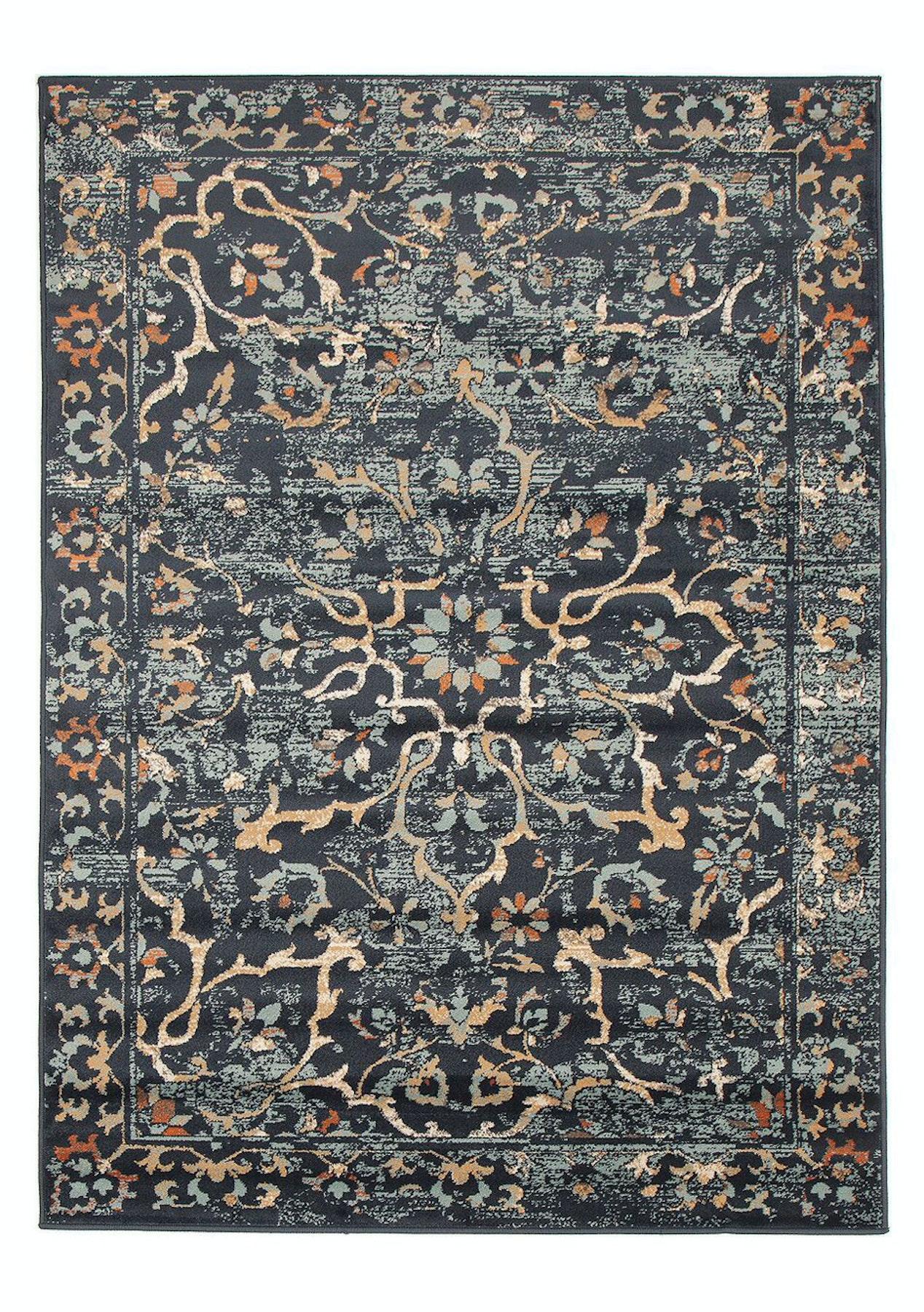Navy rust multi power loomed durable easy care modern for Easy rugs