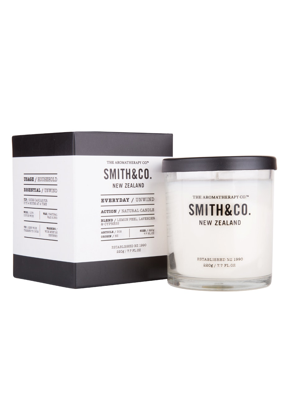The Aromatherapy Co.  Smith & Co. Candle - Unwind  - 220g