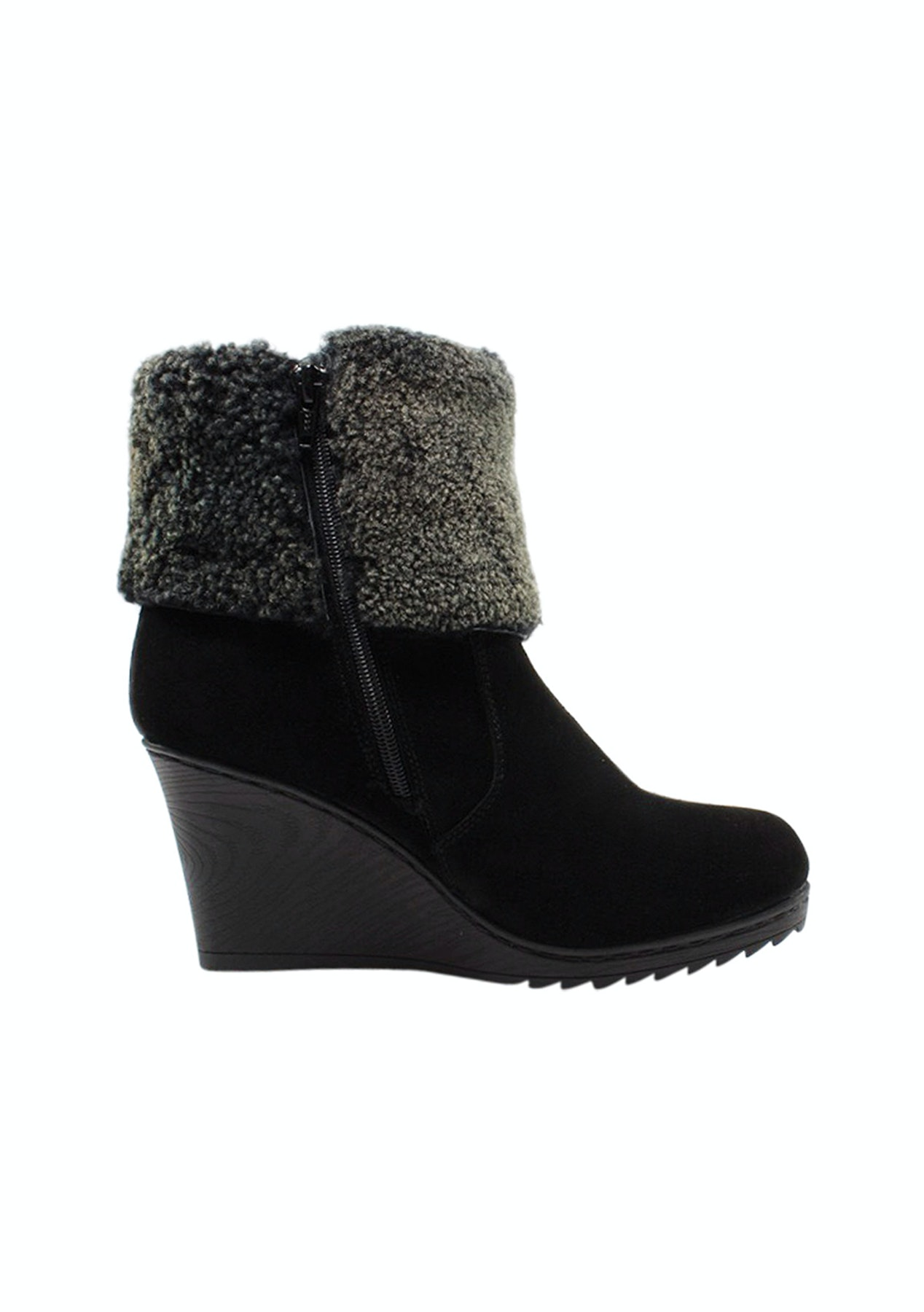 a777eaa711b Auzland Ugg Ladies Leather Fashion Wedge Boot Stml0417 Black - Auzland Uggs  From  37.99 - Onceit