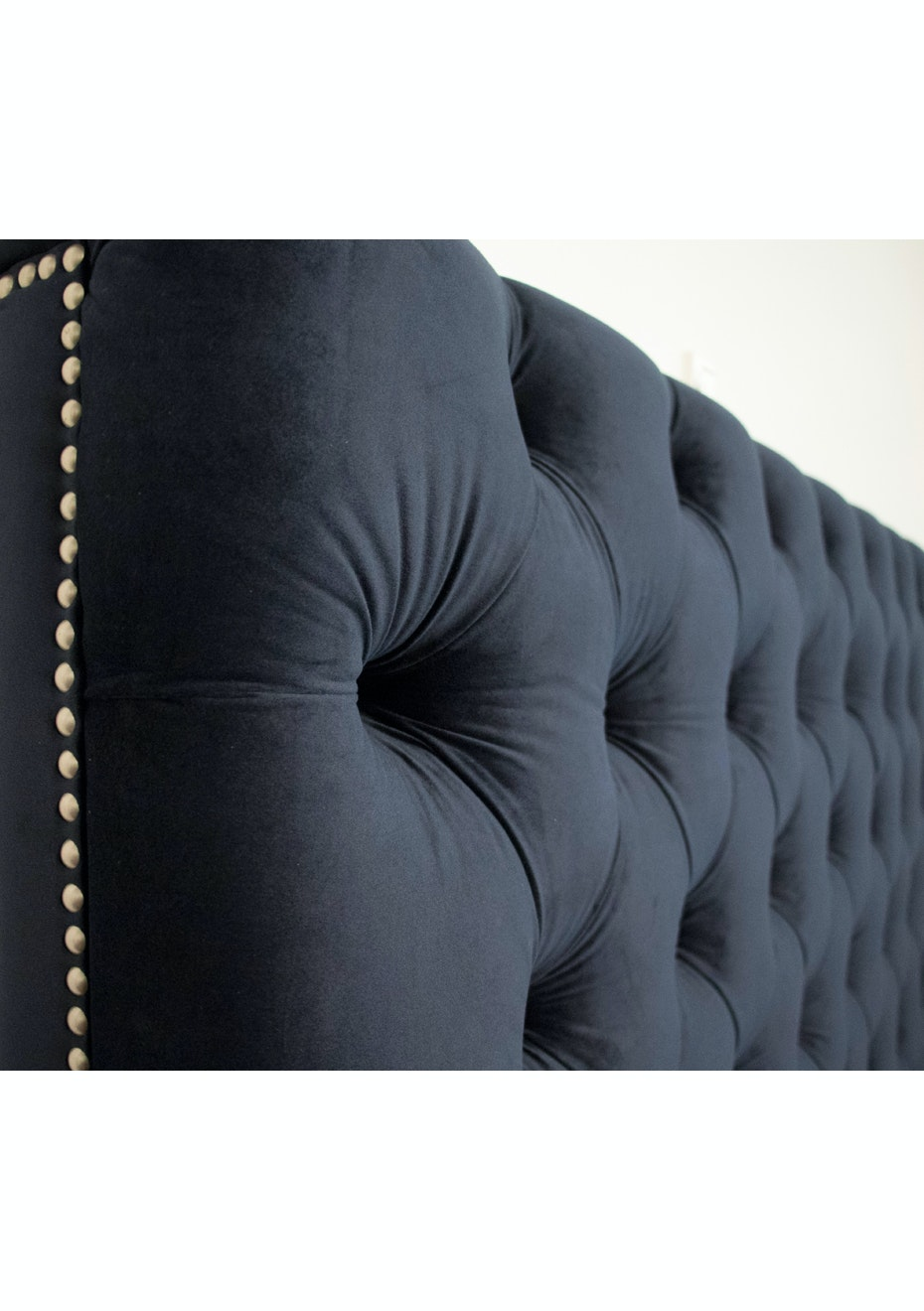 Velvet Headboard King   Navy