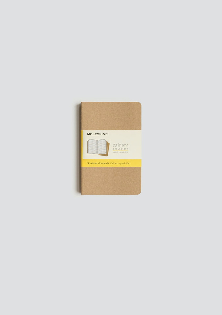 Moleskine - Cahier Notebook - Set Of 3 - Grid - Pocket - Kraft