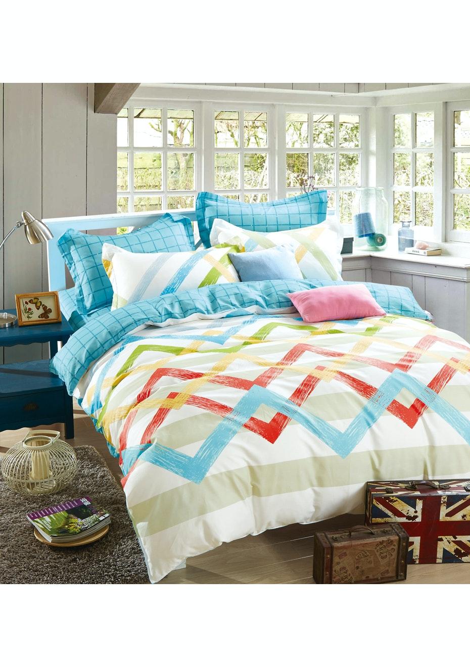Skylar Quilt Cover Set - Reversible Design - 100% Cotton Single Bed