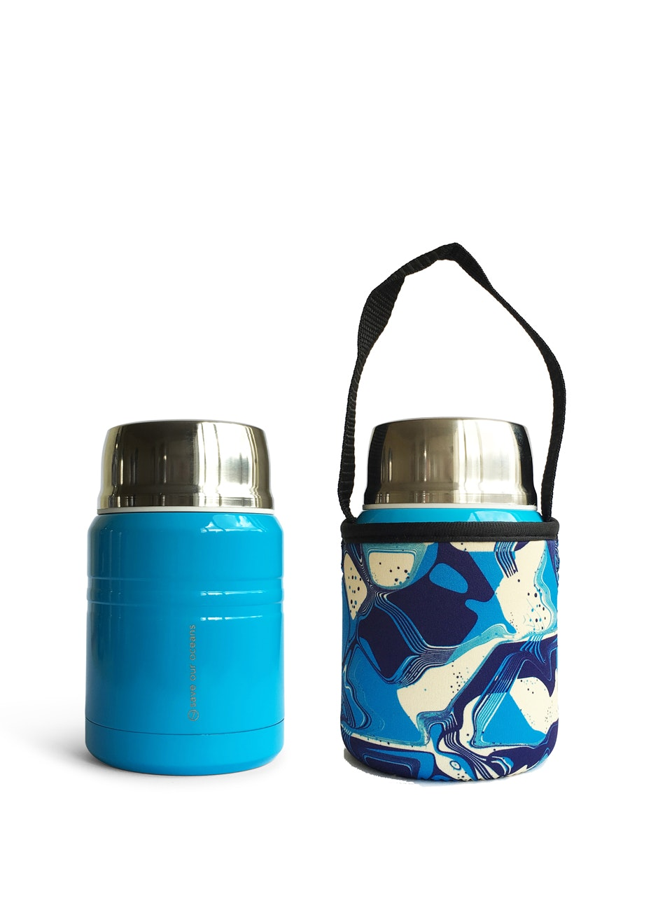 BBBYO - Foodie Insulated lunch container + carry cover 500 ml (Floral print)- Bright blue