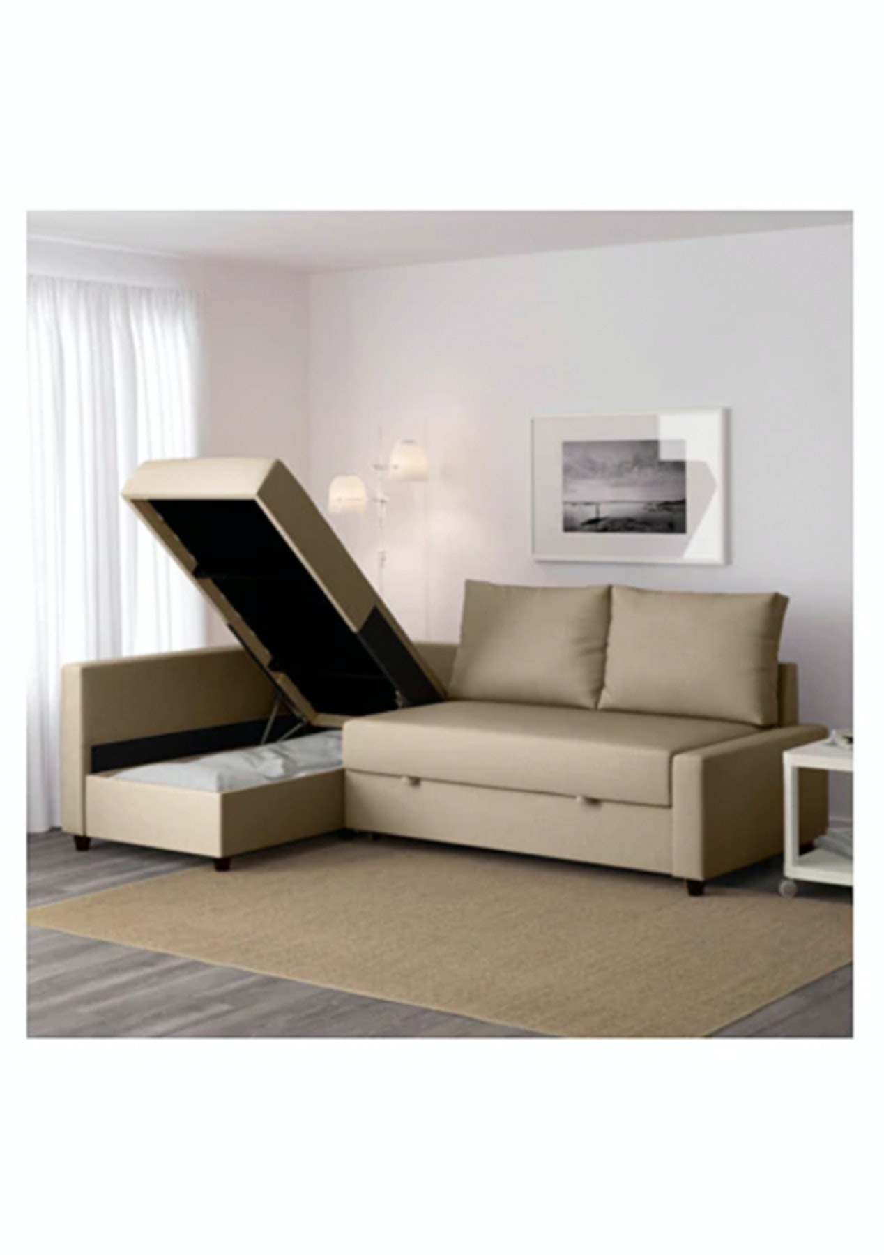 Stupendous Ikea Friheten Corner Sofa Bed With Storage Skiftebo Beige Alphanode Cool Chair Designs And Ideas Alphanodeonline