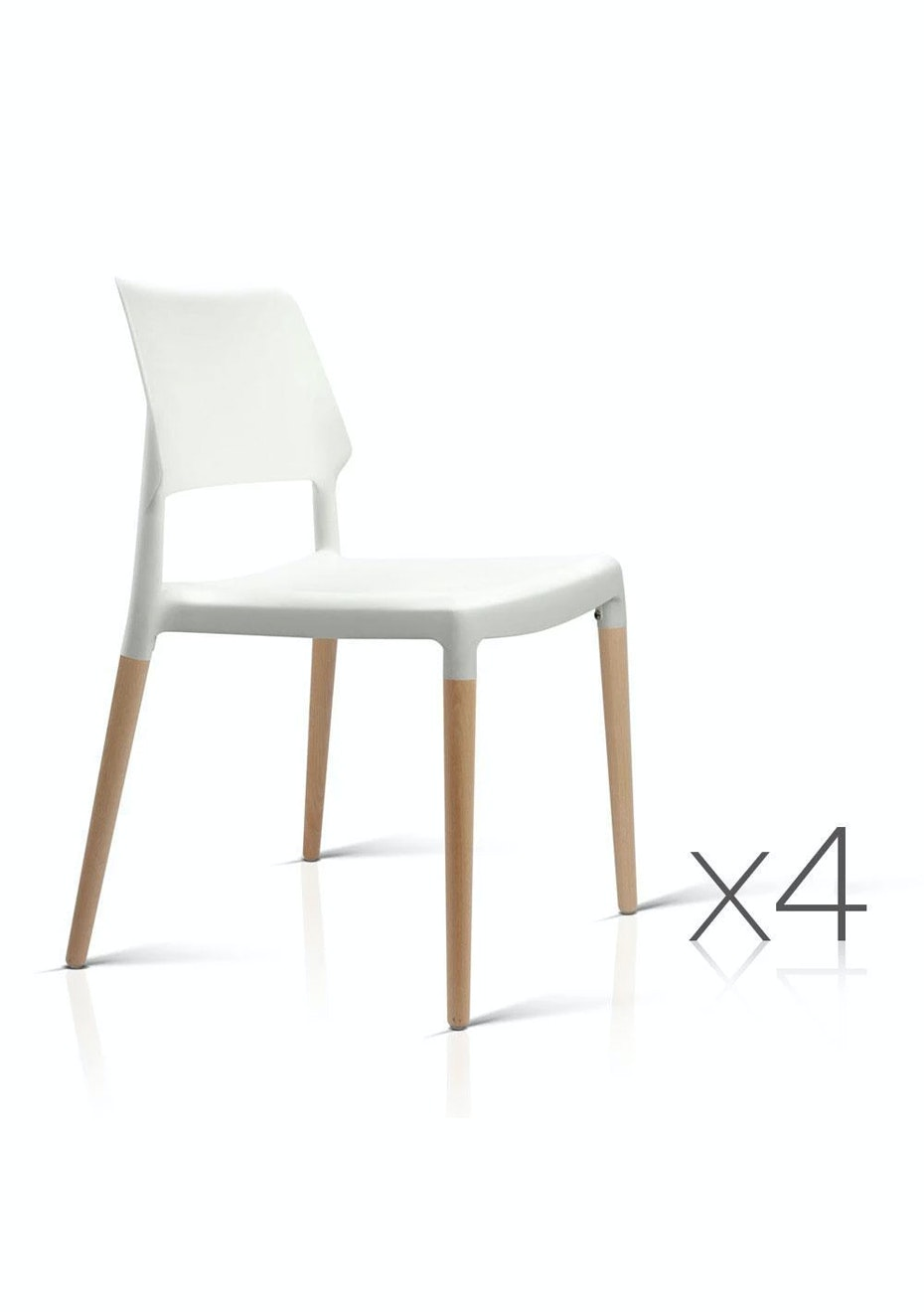 Artiss Set Of 4 Wooden Stackable Dining Chairs White
