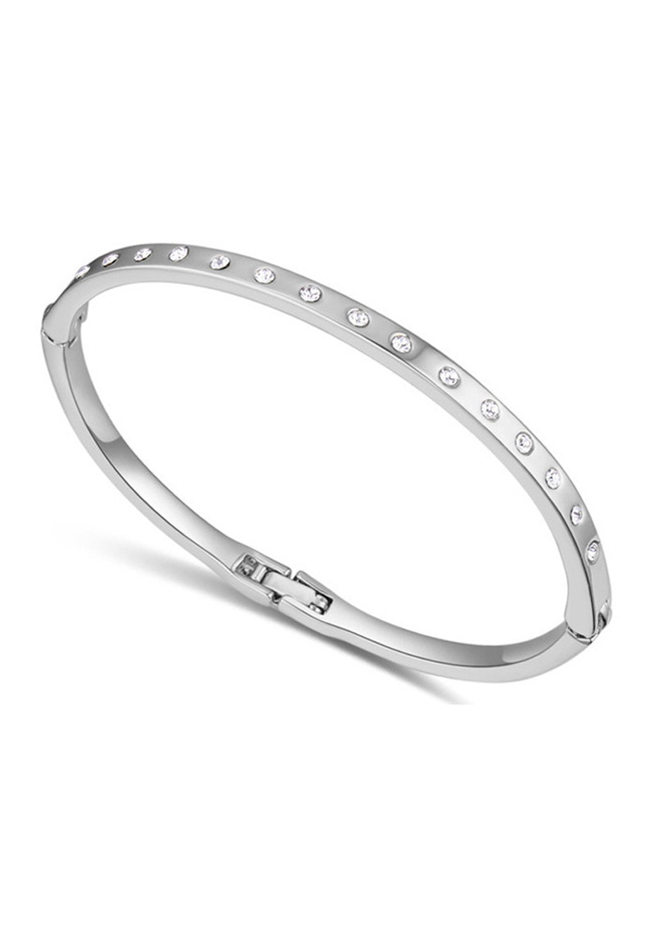 Classic Bangle Embellished with Crystals from Swarovski -WG