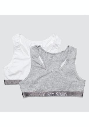 1e87396f8e1 Calvin Klein Girls - 2Pk Bralette - Grey Heather   White - Boxing Day Baby  + Kids - Onceit