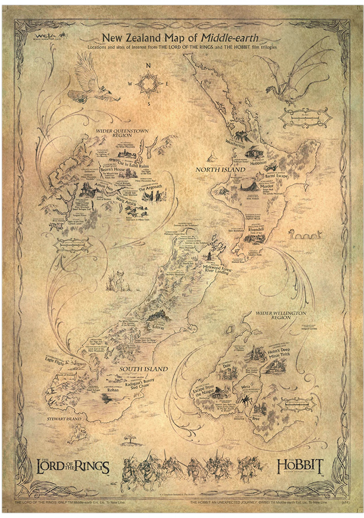 The Hobbit Art Print NZ Map of Middle Earth LOTR & Hobbit Locations