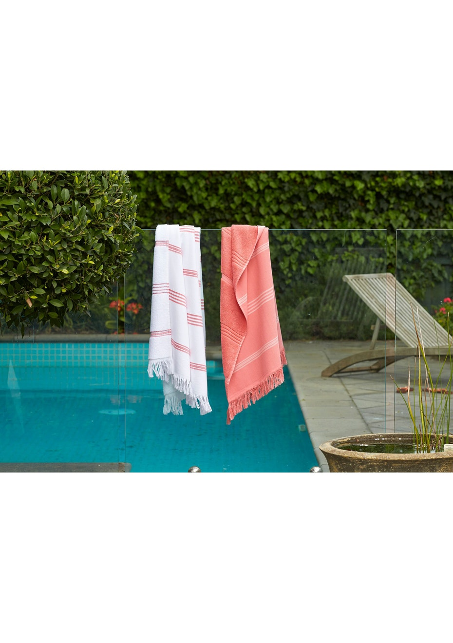 2 Pack Pink & White with Pink Stripe Turkish Towel Pack