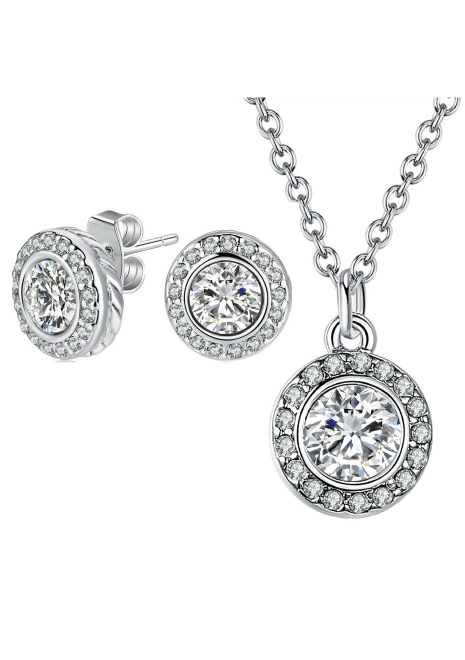 2pc Classic Earring & Pendant Necklace Set Embellished with Crystals from Swarovski -WG