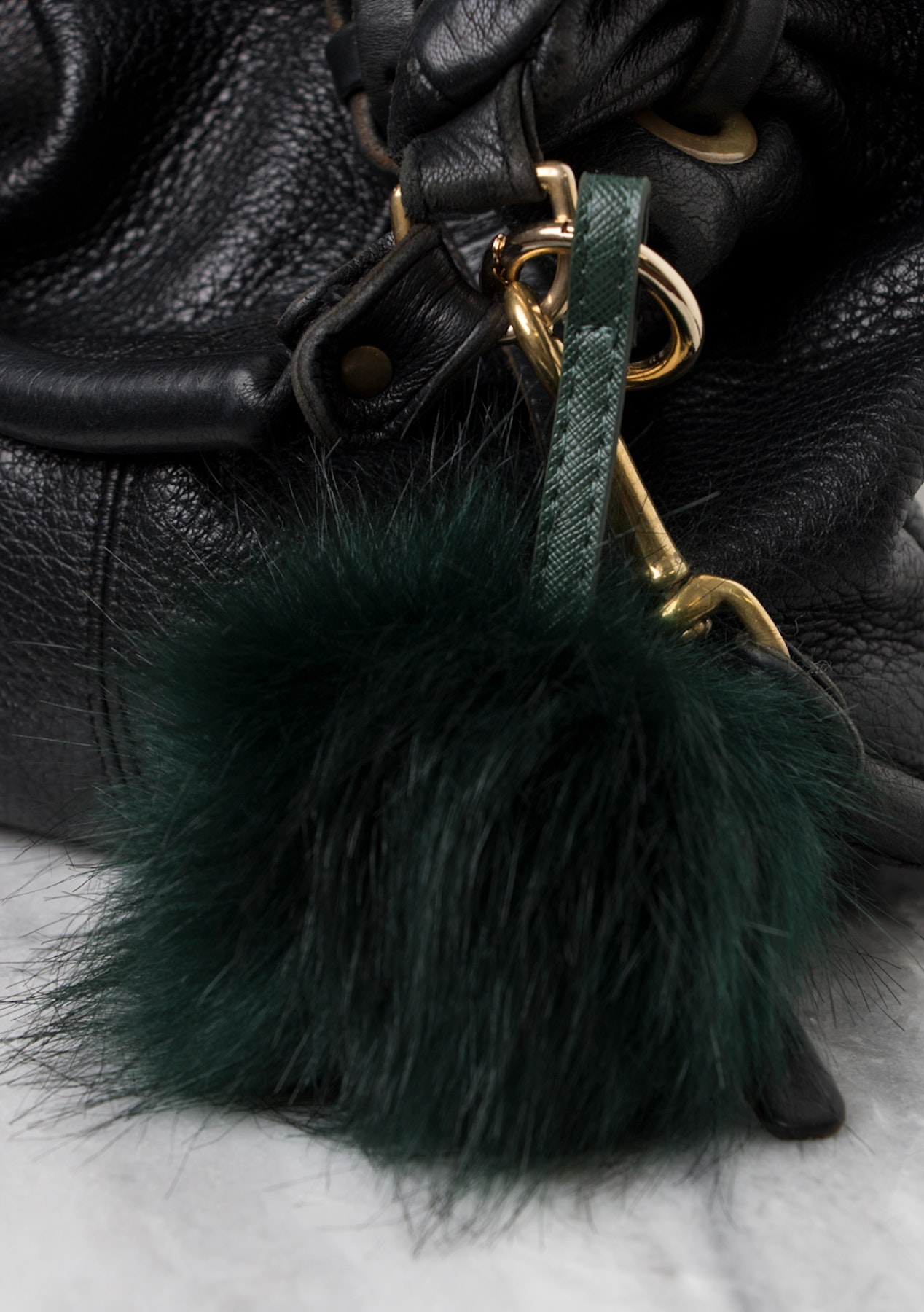 Faux Fur Pom Key Ring - Emerald - Socks 2819819fd
