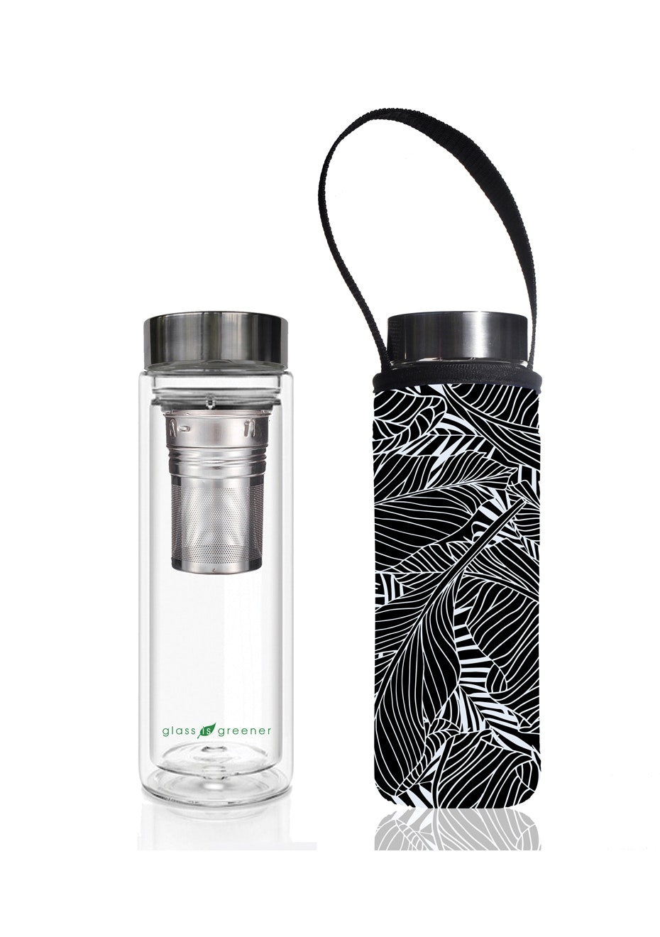 BBBYO - Glass Is Greener double-wall tea flask 500 ml + Carry Pouch (Black Leaf Print) -500 ml