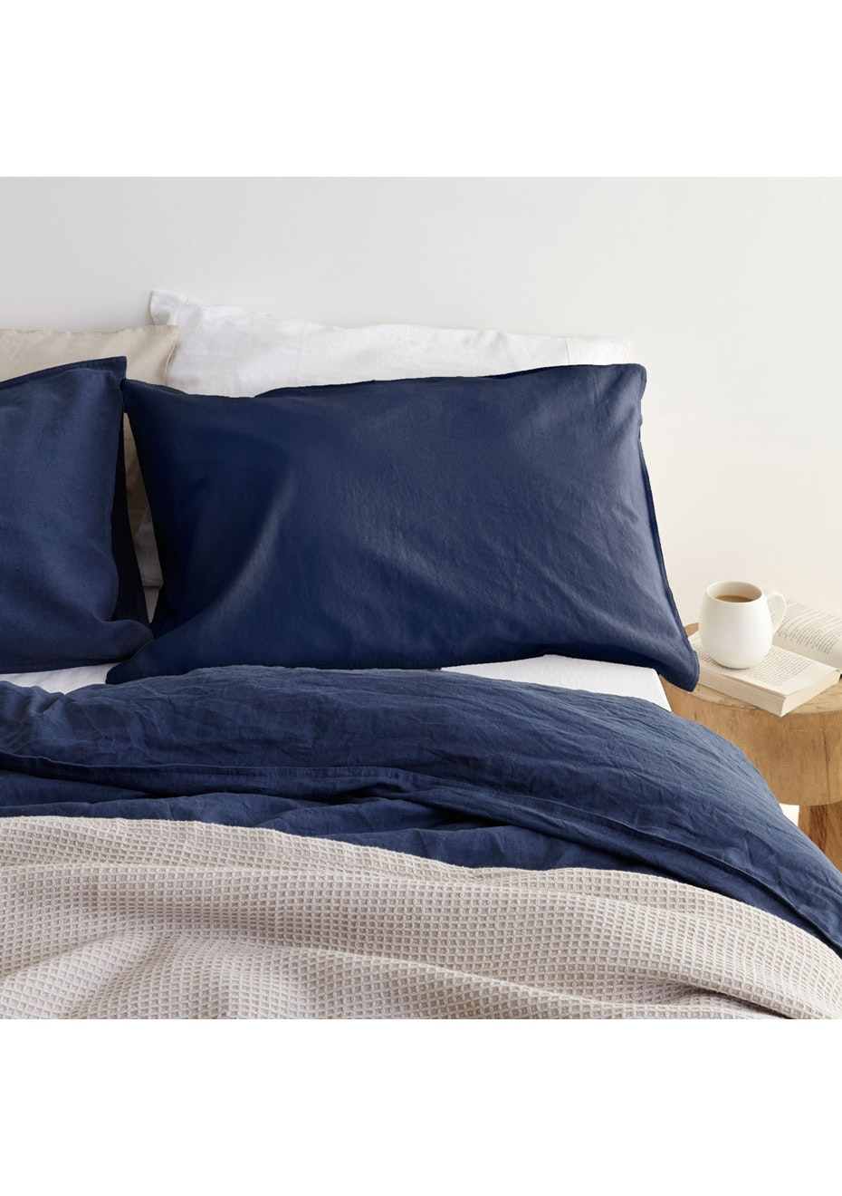 Canningvale - Sogno Linen Cotton Duvet Cover Set Indigo Blue Queen Bed