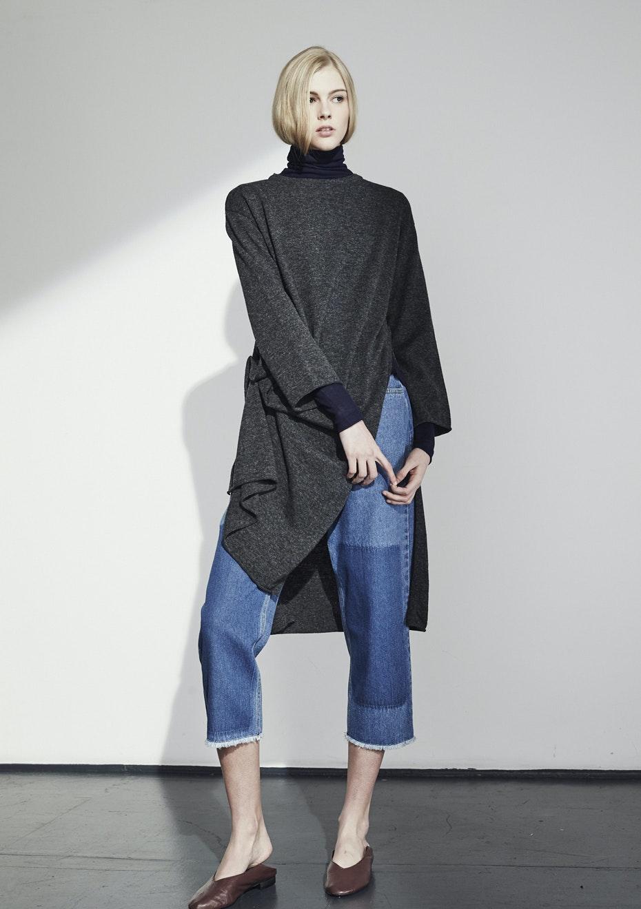 Achro - Side Slit Long Sweater - Charcoal