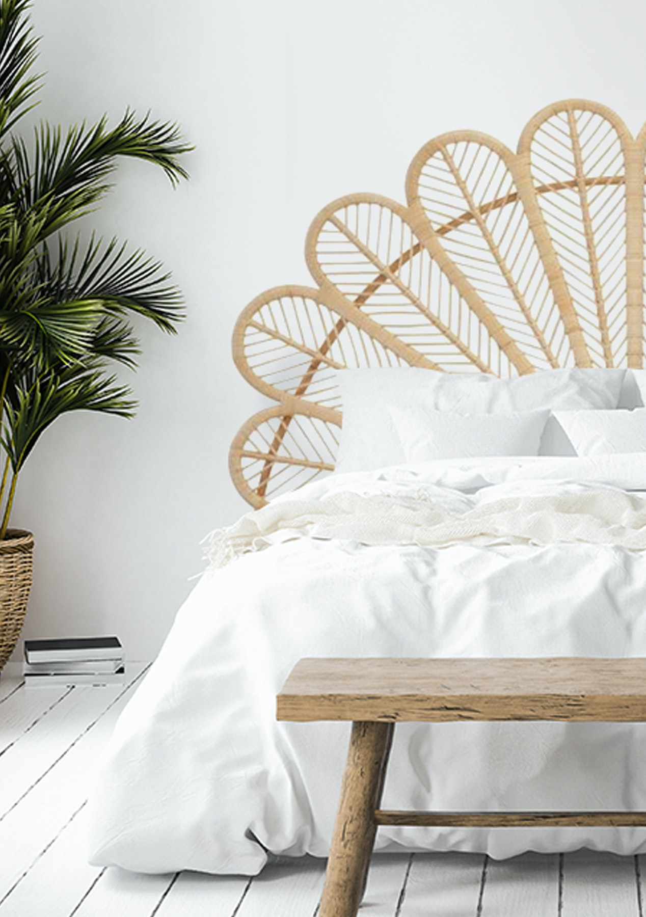 George St Queen Size Peacock Headboard Natural Presale