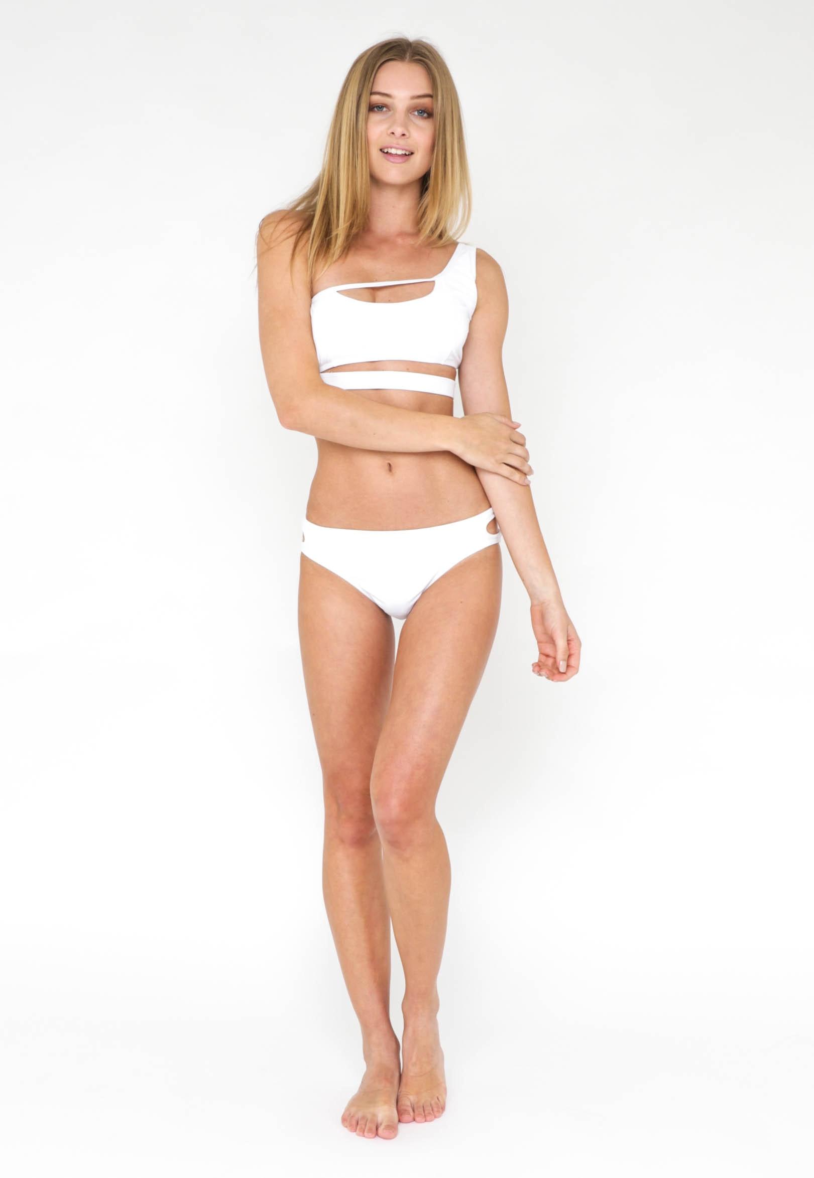 One Shoulder Bikini Set - White