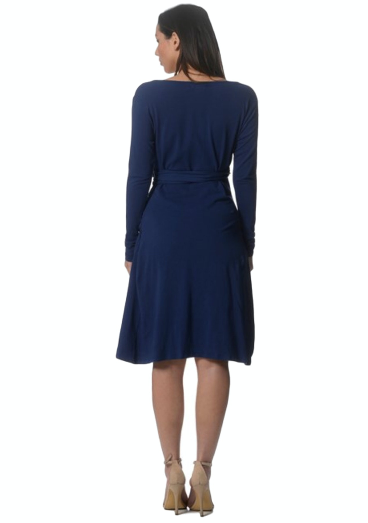 7cc8e296a9d73 Maternity Clothes Online - Lilly & Me Cotton Wrap Dress With Side Ruching -  Blue - The Maternity Shop - Onceit