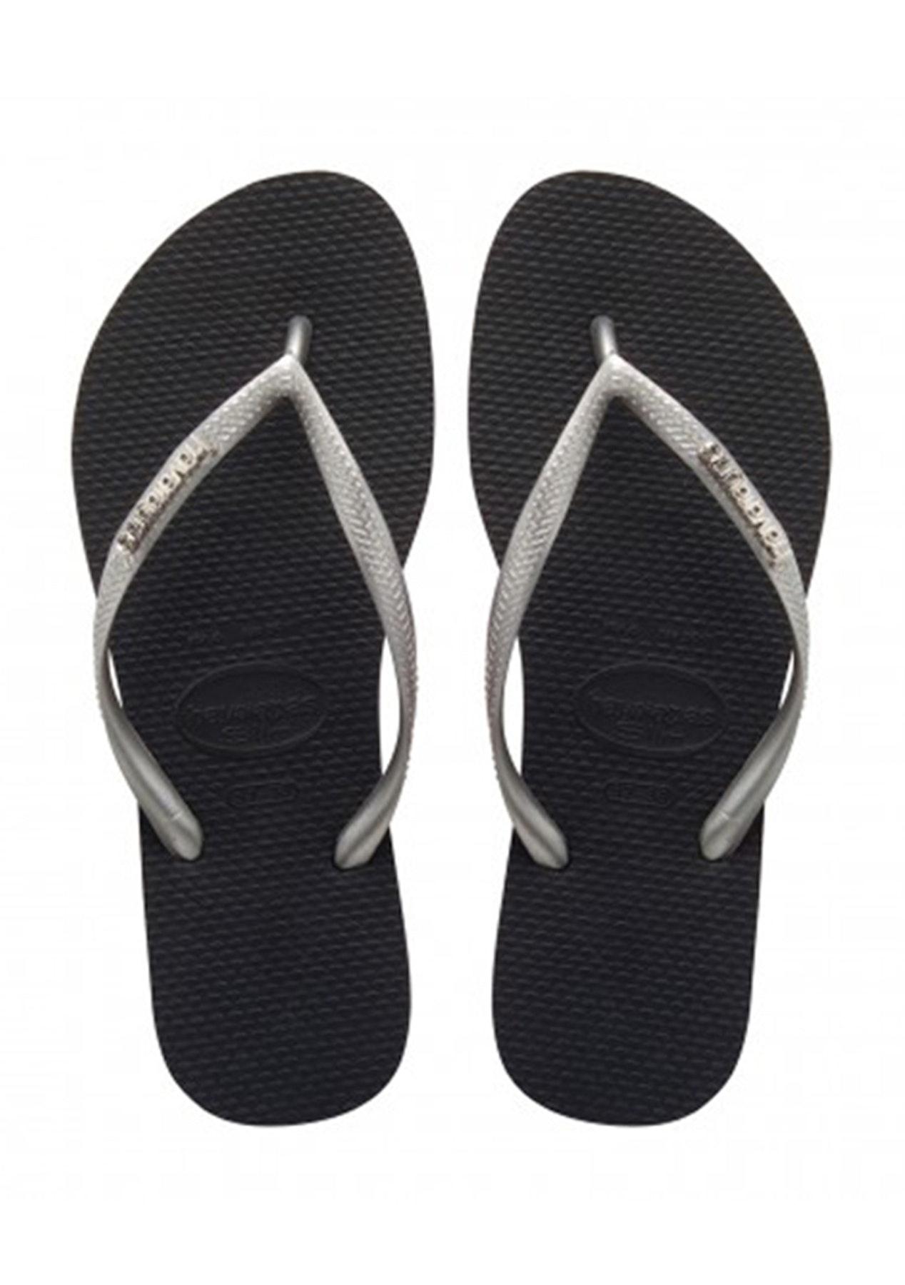 a5c0cc0cefd2 Havaianas - Slim Logo Metallic 3761 - Black   Silver   Silver - Boxing Day  Havaianas - Onceit