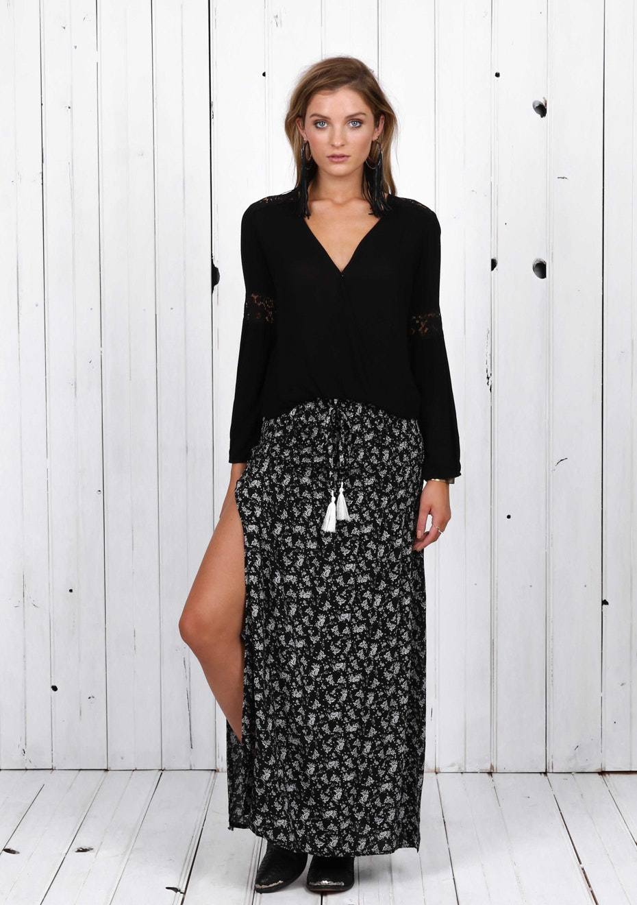 Madison - SONGBIRD MAXI SKIRT - BLACK PRINT