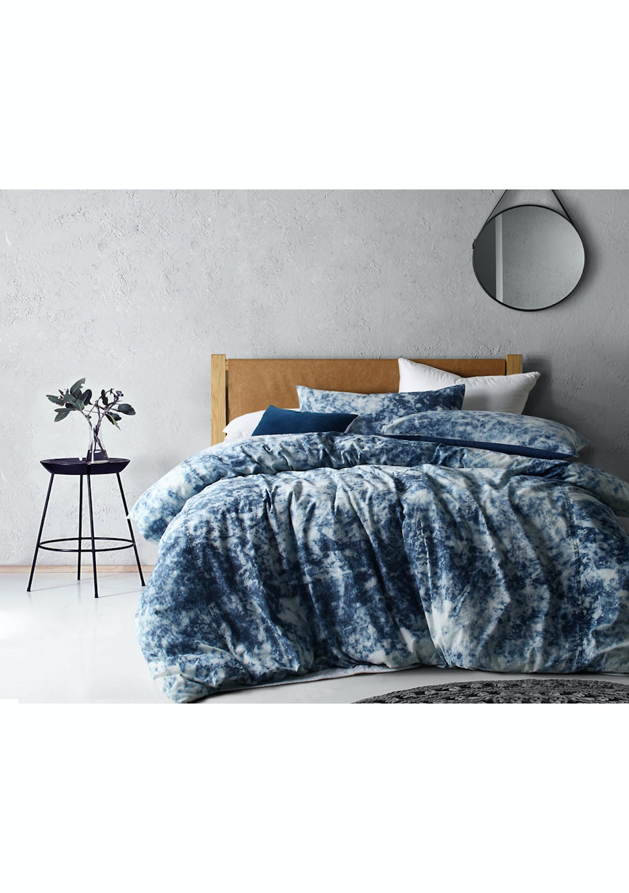 White Acid Wash Denim Linen Cotton Quilt Cover Set