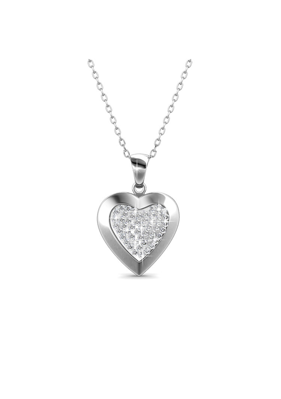 Heart In Heart Pendant Necklace Embellished with Crystals from Swarovski