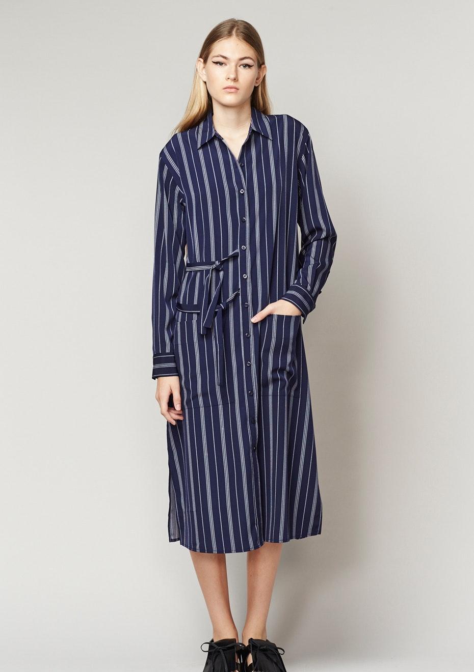 Achro - Striped Long Sleeve Buttondown Shirt Dress - Navy