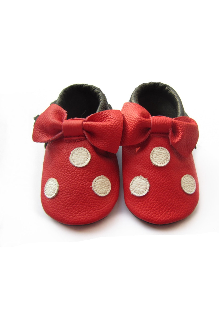 Baby  Leather Shoes - Red/Cream Dot