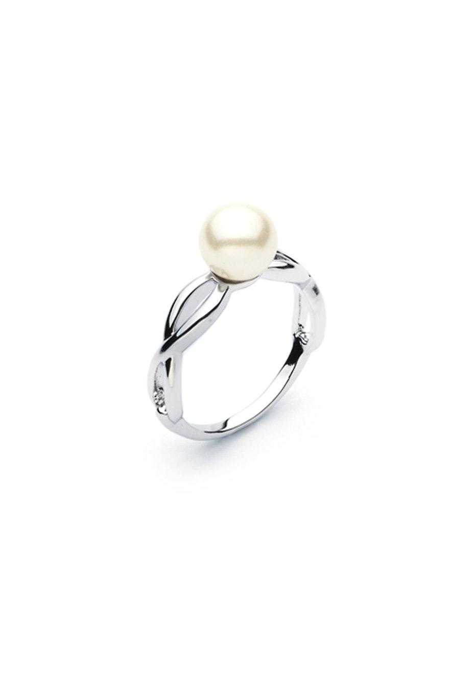 Crystal Pearl Twist Ring