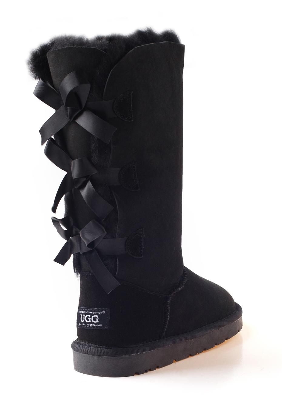 Ozwear - Ugg Three Ribbon Boots Discontinued - Black - Ozwear Uggs - Onceit