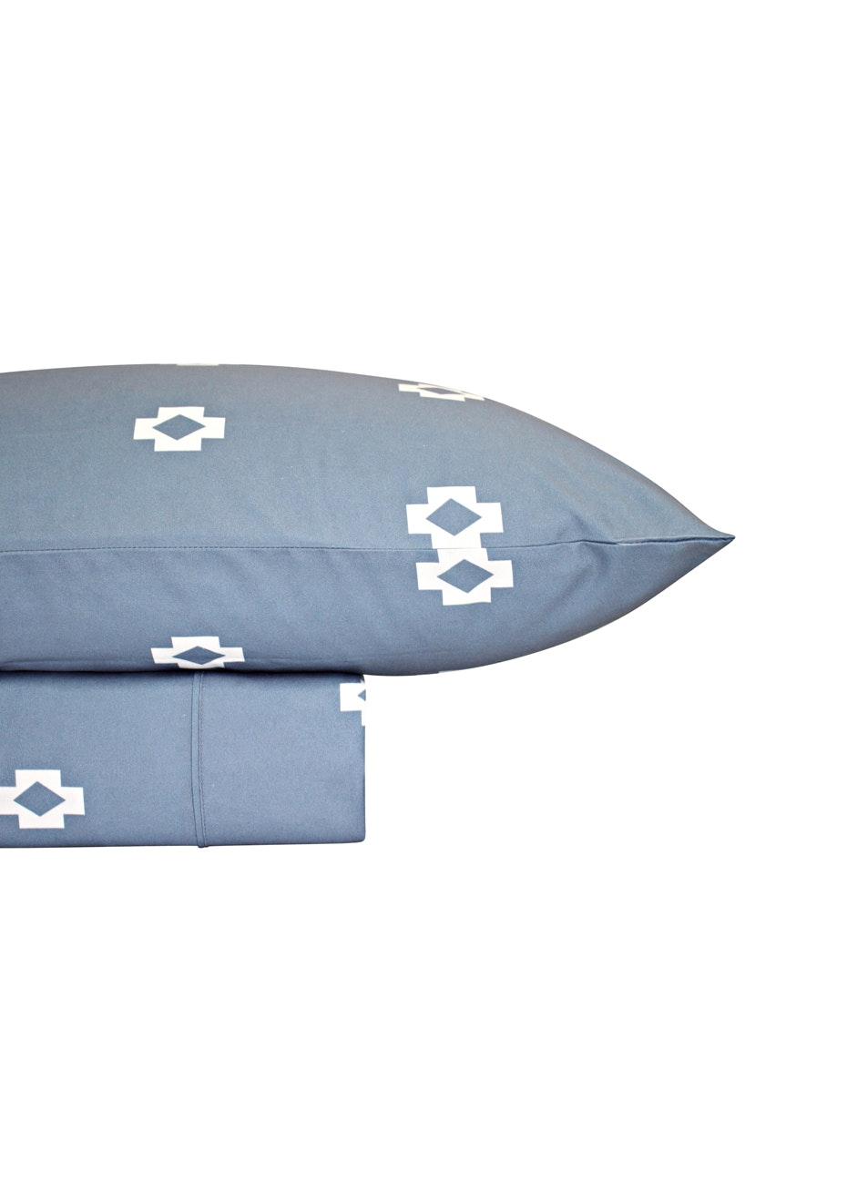 Thermal Flannel Sheet Sets - Tribal Design - Bay Blue - Single Bed