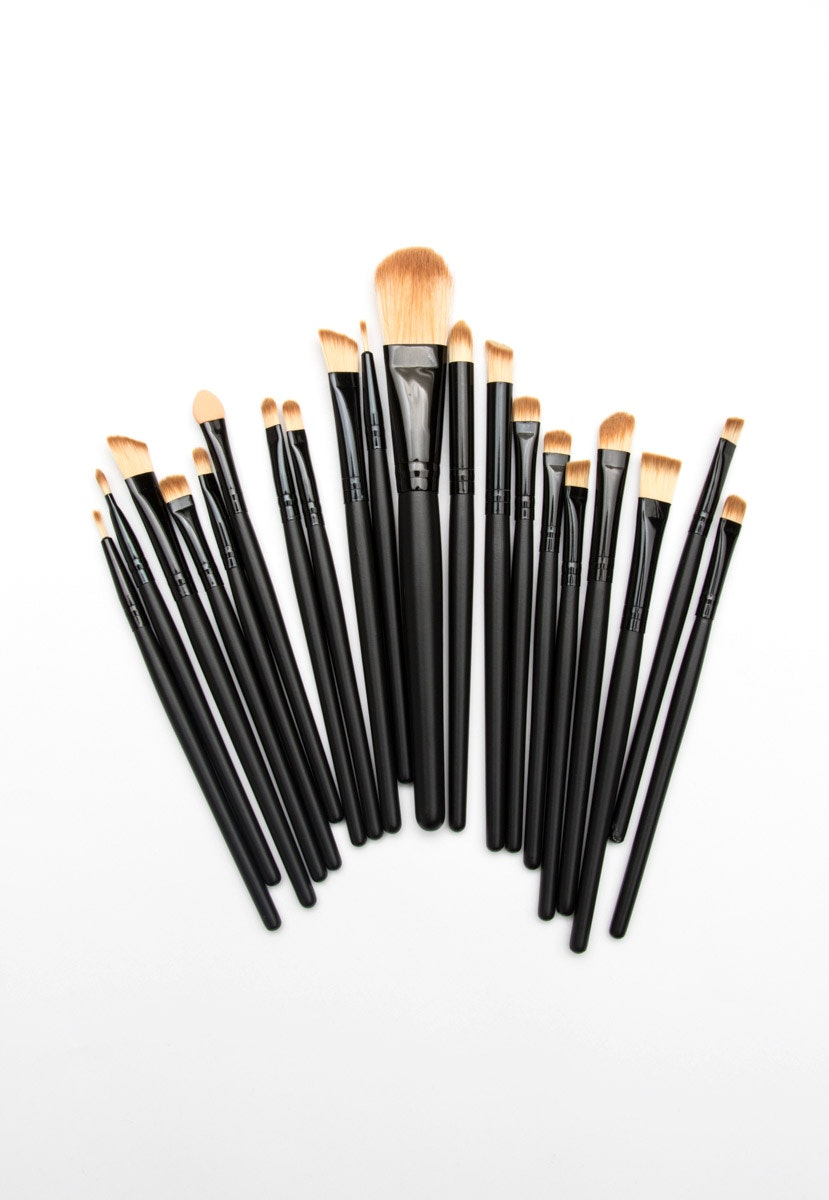 20Pcs Makeup Brushes Set - Black/Black