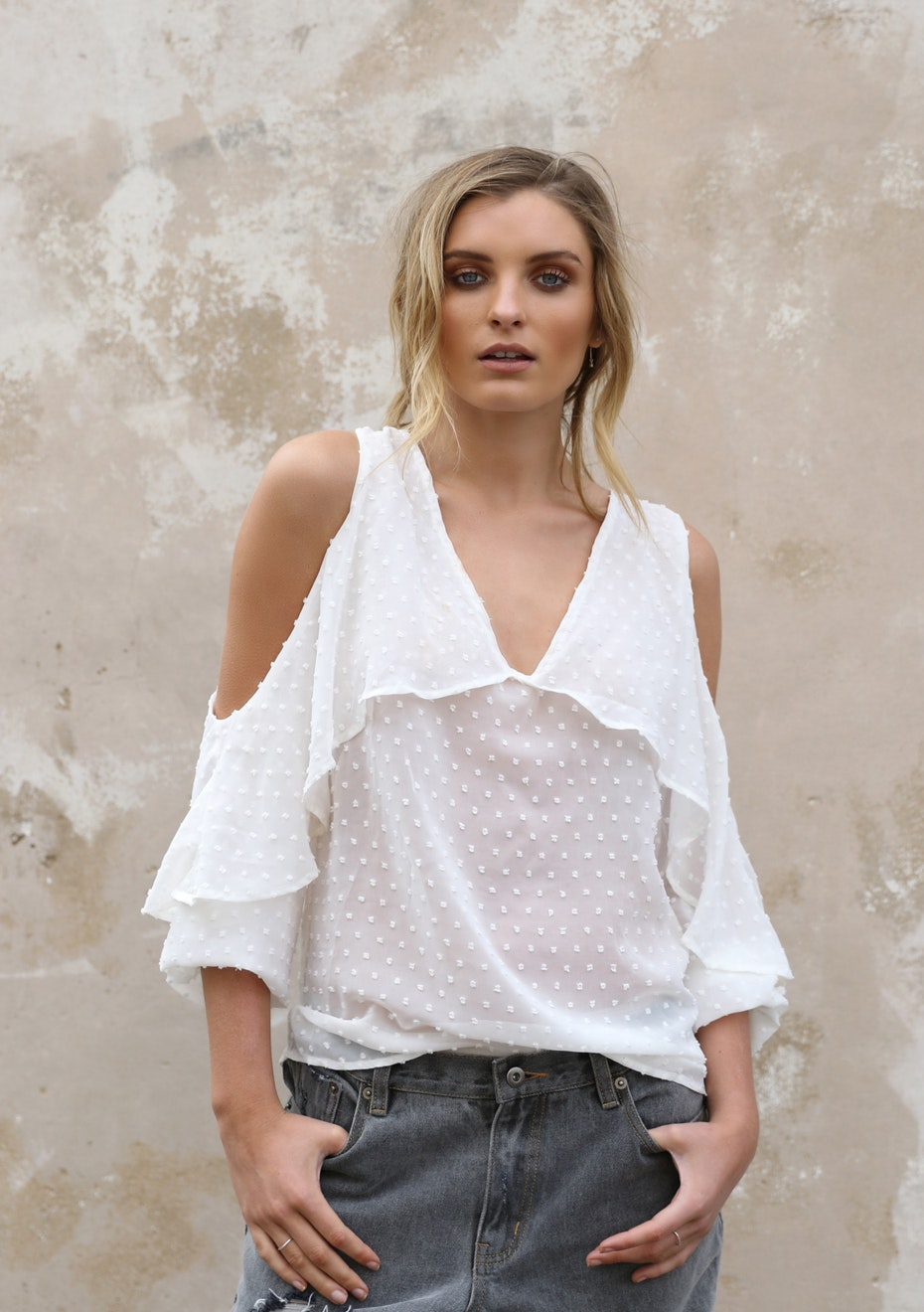 Madison - CIARA BLOUSE - WHITE