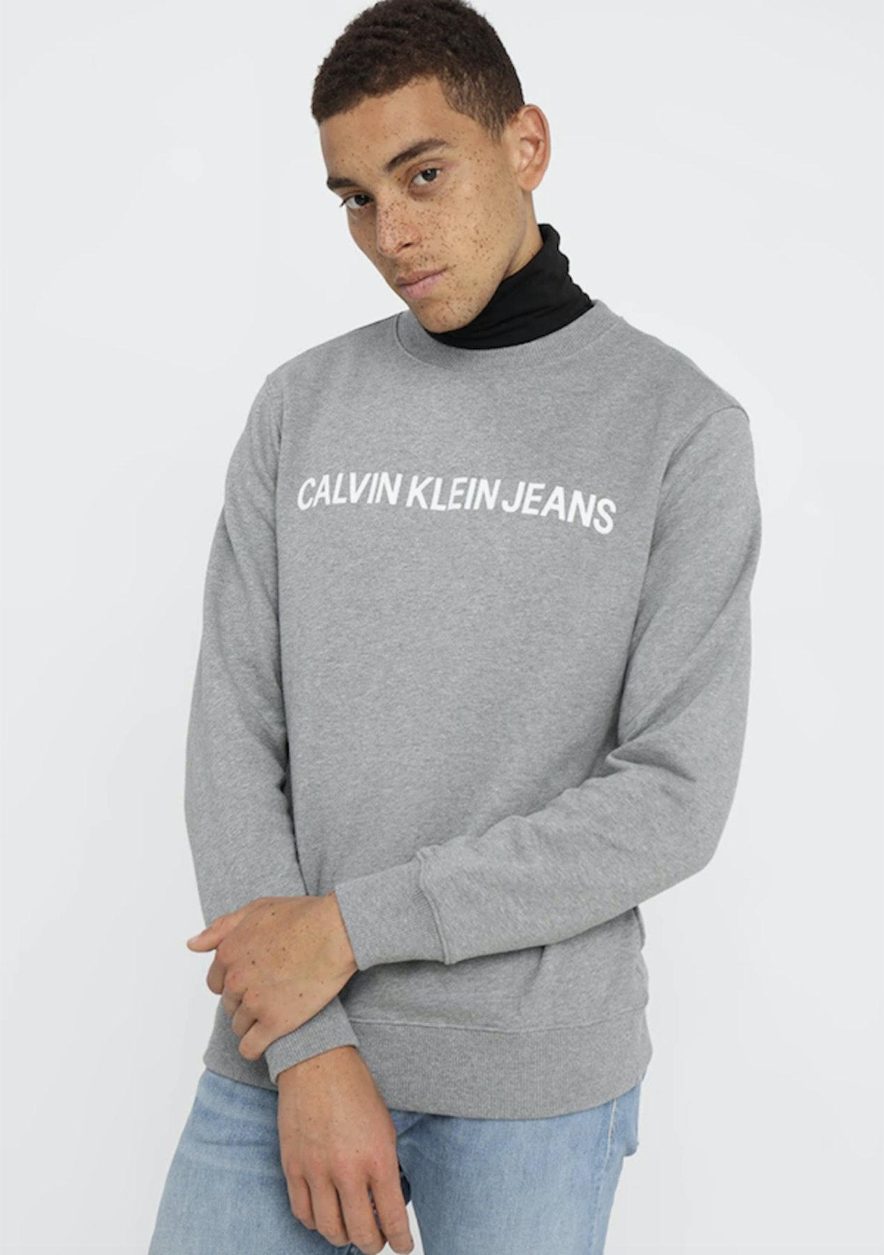 02926089ecfc Calvin Klein Mens - Core Institutional Logo Sweatshirt - Grey Heather - Calvin  Klein Refresh - Onceit