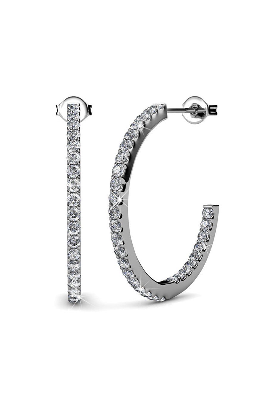 Hoop White Gold Earrings Embellished with Crystals from Swarovski